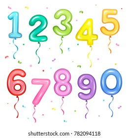 Vector illustration set of colorful number shaped balloons for birthday party decoration elements