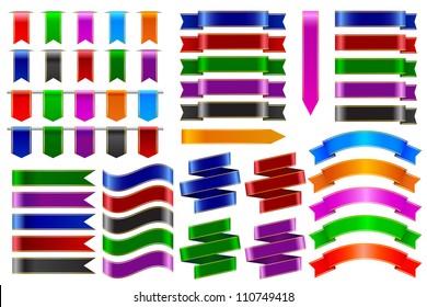 vector illustration of set of colorful ribbon banner
