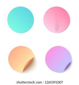 Vector illustration set of colorful round blank paper stickers in realistic style. Mock up collection of circle adhesive curled paper labels isolated on white background.