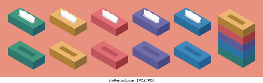Vector illustration set of colorful tissue paper in isometric flat design