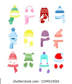 2734a40458b Vector illustration set of colorful winter or autumn hats