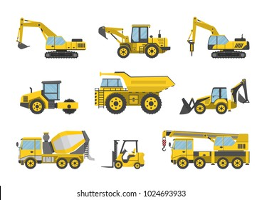 Vector illustration. Set of construction machinery.