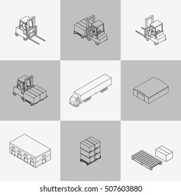 Vector illustration. Set of contour icons of the warehouse. Outline hangar, truck, forklift, pallets with boxes. Isometric, 3D