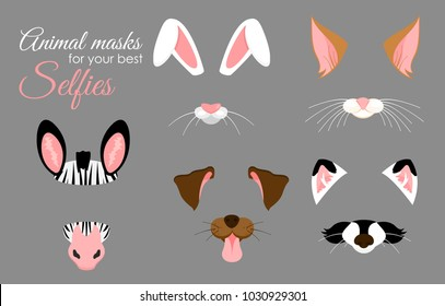 Vector illustration set of cute animal ears and nose masks for selfies, pictures and video effect. Funny animals faces of zebra, bunny, dog, cat and raccoon, filters for mobile phone.