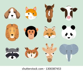Vector illustration set of cute animal heads