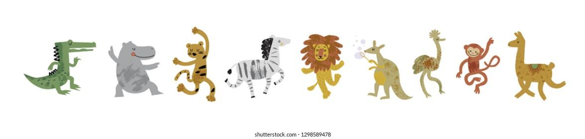 Vector illustration set of cute danсing animals in cartoon style. Ostrich, lion,  monkey, crocodile, hippo, zebra, kangaroo, leopard, llama. Children print,  nursery design