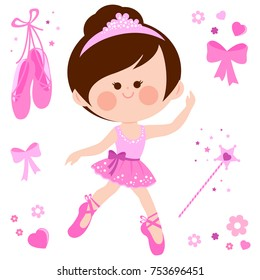 Vector illustration set of a cute ballerina dancer girl in a pink ballet outfit, ballet shoes, ribbons and magic wand.