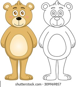 Vector illustration set of a cute brown teddy bear with outline.