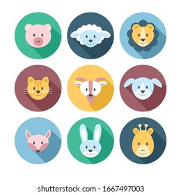 Vector illustration set of cute cartoon animals heads in flat style.
