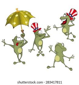 Vector illustration of a set of cute cartoon green frog
