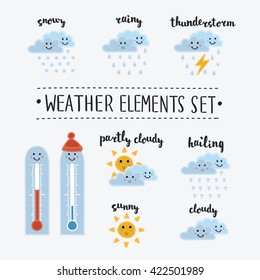Vector illustration of set of cute cartoon funny smiley weather icons. Sunny, cloudy, rainy, snowy, shiny, hailing, thunderstorm, thermometer. Different kinds of weather. lettering name in English