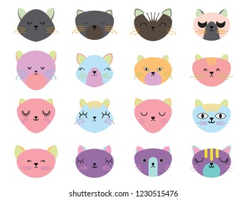 Vector illustration set of cute cats heads.Animals emotions.Facial expressions.