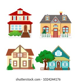 Vector illustration set of cute colorful houses. Country flat buildings in cartoon style.