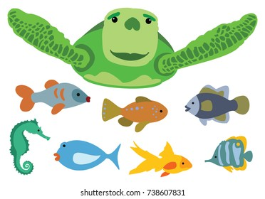 Vector Illustration set of cute, colorful cartoon fish and sea turtle
