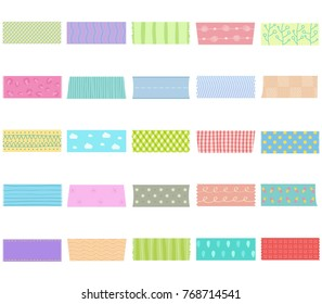 Vector illustration set of cute colorful hand drawn masking tape (Washi tape) fabric strip blank tags labels stickers with patterns in pastel color as design elements for decoration isolated on white