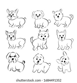 Vector illustration set of cute dogs doodle, hand drawn on white back ground.