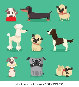 Vector illustration set of cute and funny cartoon breed of dog- dachshund, pug, poodle, bulldog and spaniel