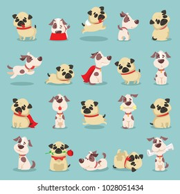 Vector illustration set of cute and funny cartoon little  dog pupies.