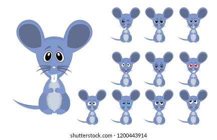 Vector illustration set of cute and funny cartoon little grey mouse with facial Expressions