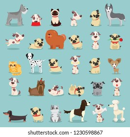 Vector illustration set of cute and funny cartoon pets breed of dogs and cats