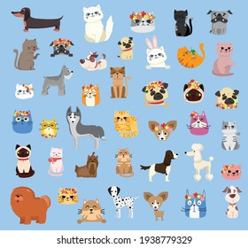 Vector illustration set of cute and funny cartoon pet characters. Different breed of dogs and cats in the flat style