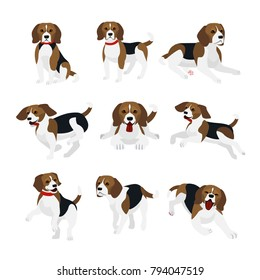 Vector illustration set of cute and funny beagle dog, lively actions, playing, jumping dogs in flat design.