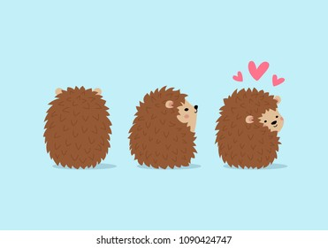 Vector illustration, set of cute hedgehogs in different poses. Can be animated.