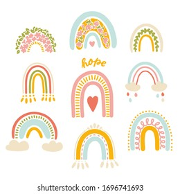 Vector illustration set, cute modern colourful rainbows on a white background