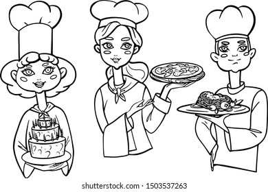 Vector illustration set of cute people icons. Cartoon and realistic cooks in black outline isolated on white background