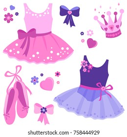 Vector illustration set of cute pink and purple ballerina dancer girl outfits, ballet shoes, ribbons, crown and flowers.