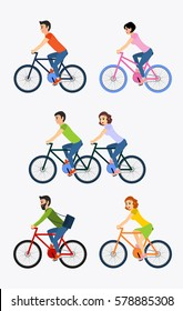 Vector illustration set of cyclists riding bike including tandem bicycle.