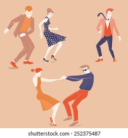 vector illustration set of dancing people in a flat style