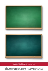 Vector illustration set of dark and light green horizontal chalkboards with wooden frames with piece of chalk and shadow isolated on white background.