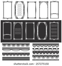 Vector illustration of a set of deco hitech frames and laces for designing templates, invitations