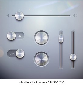 Vector illustration set of the detailed UI elements �¢?? knob, switches and slider in metallic style. Good for your websites, blogs or applications.