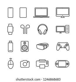 Vector illustration set device line icons.