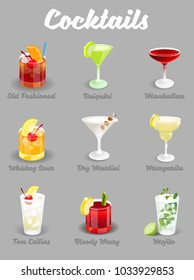 Vector illustration set with different alcoholic ice freeze cocktails bar restaurant party menu drink Old Fashioned Daiquiri Manhattan Whiskey Sour Dry Martini Margarita Mojito Bloody Mary Tom Collins