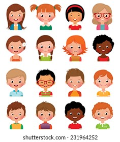 Vector illustration set of different avatars of boys and girls on a white background/Set of avatars of different boys and girls/Icon set portraits of boys and girls isolated on white background