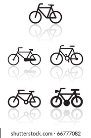 Vector illustration set of different bike symbols. All vector objects are isolated. Colors and transparent background color are easy to adjust.