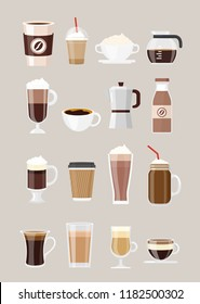 Vector illustration set of different coffee drinks, coffee in cups, glasses isolated on grey background. Coffee maker, chocolate milkshake, espresso, macchiato, cocoa and frappe, americano, latte and