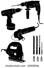 Vector illustration set of different electric power tools. All vector objects and details are isolated and grouped. Each tool has a transparent background. Colors are easy to adjust or customize.