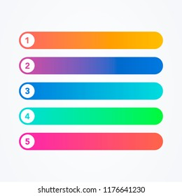 Vector Illustration set of different flat line colorful modern style buttons on white background. One Two Three Four Five steps, progress or ranking banners with colorful tags.