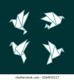 Vector illustration set of different freehand drawn cartoon paper origami birds made in kid childish style