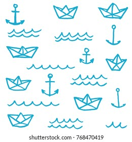 Vector illustration set of different freehand drawn cartoon paper ships anchors and waves made in kid childish style