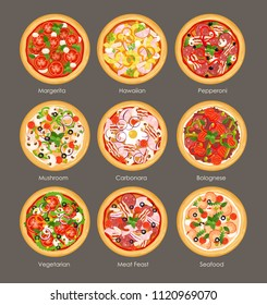 Vector illustration set of different pizza top view with ingredients. Italian tasty and bright colors pizza, vegetarian, mushroom, hawaiian and meat feast in flat cartoon style on grey background.