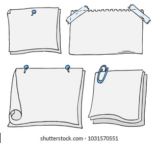 vector illustration of a set of different scribbled notepads with free space