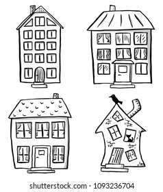 vector illustration of a set of different scribbled houses