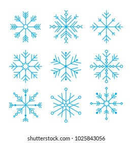 Vector Illustration. Set with different snowflakes