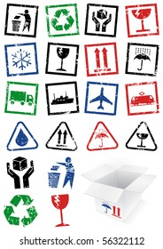 Vector illustration set of different textured packing symbol stamps, e.g. fragile. All vector objects and details are isolated and grouped. Colors and transparent background are easy to adjust.