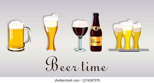 Vector illustration set of different tipe of beer on light background